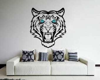Tiger Head Decal, Tiger Decal, Tiger Sticker, Jungle Decals, Animal Decal, Animal Head Sticker, Tiger Wall Decal, Tiger Décor,Cat Decals,