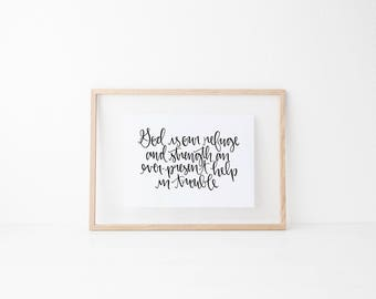 God is our refuge and strength calligraphy print