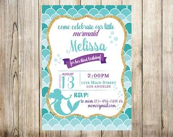Mermaid Birthday Invitation - Digital Invitation