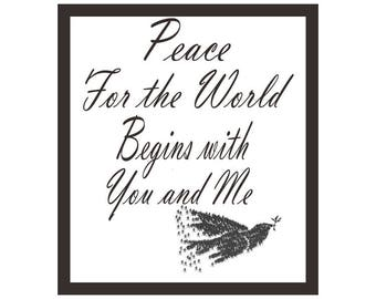 Peace In The World Quote, Instant Download, Inspirational, Home Decor Wall Art,Quick Gift, Motivational
