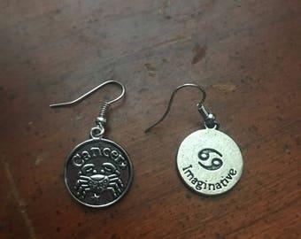 Cancer Zodiac medallion earrings