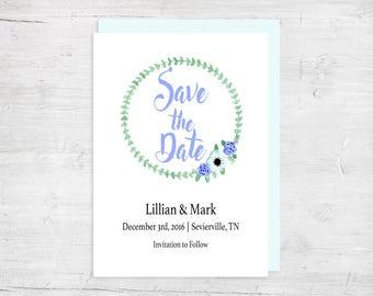 Mint Save the Date Wedding Invitation - Wedding Invitations - Wedding Stationery - Winter Wedding Invitations - Spring Wedding Invitations