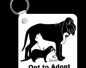 Pet Rescue Opt to Adopt Cat Dog Ferret Keychain