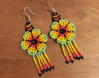 Handmade earrings. Mexican earrings, chaquira earrings