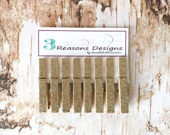 Gold Glitter Clothespins - Photo Display - Office Organization - Decorative Clothespins - Card Holders - Fridge Magnets - Party Decor - clip
