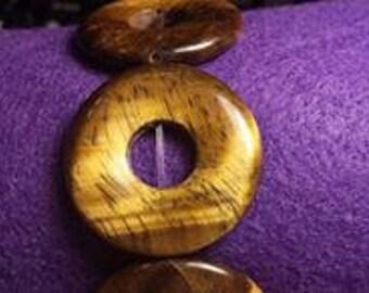 Large Tiger Eye Disk Stretch Bracelet, Handmade