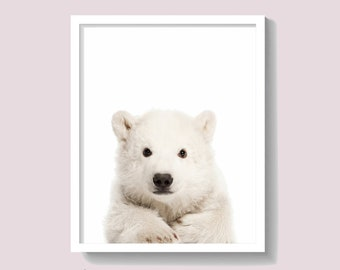 Polar Bear Print, Animal Wall Art, Baby Shower Gift, Kids Room Poster, Nursery Decor, Instant Download, Large Printable Poster, #449