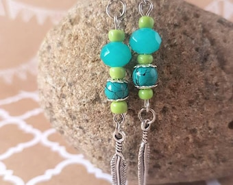 Turquoise and green feather drop earrings