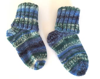Hand knitted baby socks for boy or girl in blue / green yarn, to fit UK size 3 approx, unique, baby shower gift, snuggly kids socks