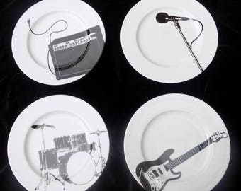 "Set of 4 dinner plates ""Rock"" J C Castelbajac"