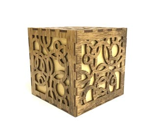 Wooden Box - Decorative Box - Jewelry Box - Laser Cut Box - Acrysh