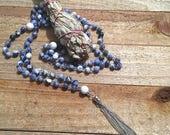 Sodalite Mala Beads -  Silver Tassel Mala Beads - Meditation mala beads