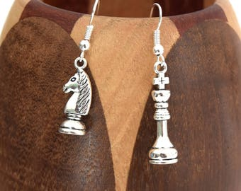 Failure, chessboard King and Knight parts earrings