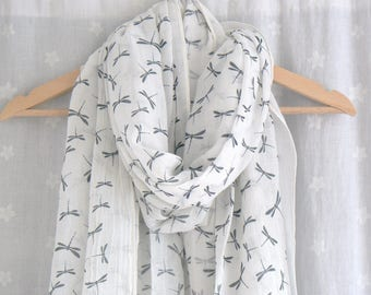 White and Grey Dragonfly Scarf Wrap Shawl Ladies Women's