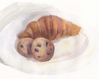 Original watercolor still life with a croissant and chocolate chip cookies / Dessert wall decor / Biscuit / Gift for sweet-tooth / Realistic