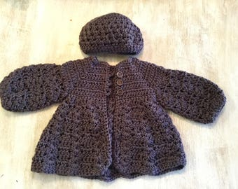 Crochet baby girl sweater and hat set (3/6 month)