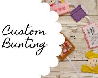 Custom bunting, personalised bunting, felt