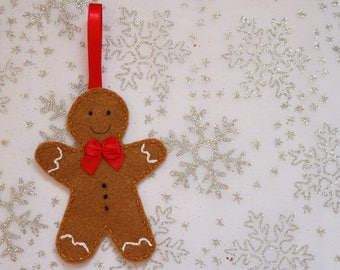 Gingerbread man tree decoration, Christmas decor, Gingerbread man, Tree decoration, Christmas decorations, Felt gingerbread man