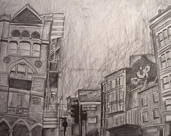 Original Artwork, London Street Scene, Graphite on paper, Urban Artwork, Expressive Cityscape