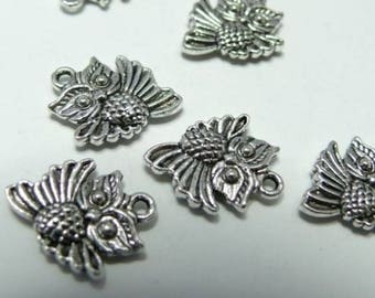 OWL set of 2 small charms in silver