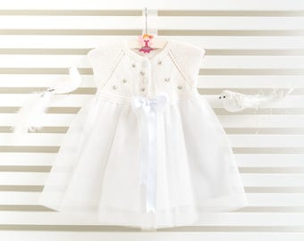 Hand-Knitted White Baby Girl Dress with Flowers