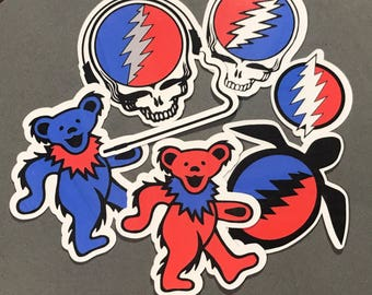 Red/blue Grateful Dead stickers