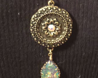 Bronze pendant with irresistible opal bling