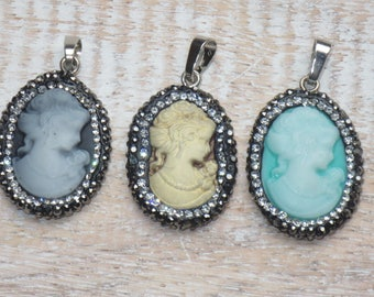 Small Pave Cz Crystals Lady Cameo Charms Cameo Pendant