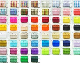 1MM Bugtail Satin Cord Shamballa Macrame Nylon Kumihimo Trim Variegated String 210 Foot Spool - Pick Your Color!