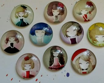 Set of 10 cabochons 25mm new girl