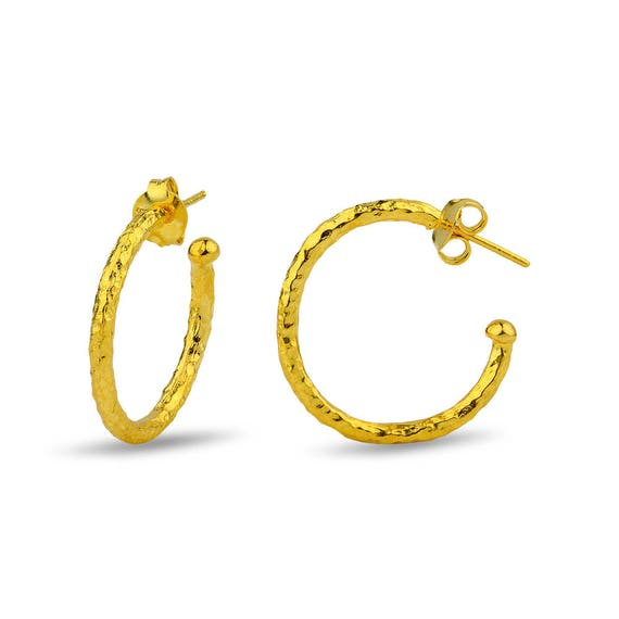 Hammered Silver Hoop Earrings 24 Karat Gold Plated Gift For Her