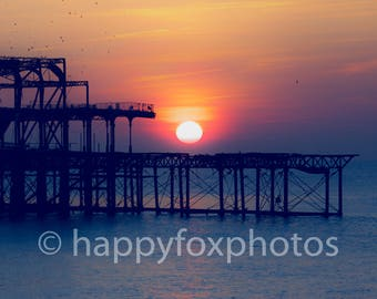 Instant photo download sunset pier