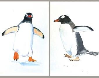 Two Penguins, Original Watercolor Paintings by Mila Clement, Children's Art, Penguins Art, Birds World