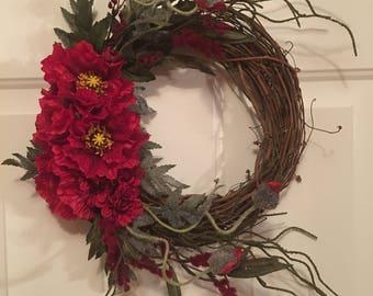 Pretty Poppies elegant 12 inch fall wreath summer wreath spring wreath with red flowers