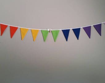 Fabric bunting flags bright rainbow