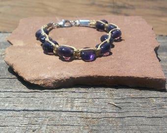 Boho  Purple Glass Bead Bracelet