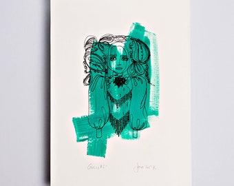 Gucci 2 Limited Edition Screen Print, Line Drawing, Hand Painted, Fashion Illustration, Fashion Wall Art, Fashion Art, Original Art