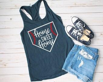 Home Sweet Home Tank | ladies baseball shirt | game day | gameday chic | baseball mama | baseball love | mom life | baseball mom | sport mom