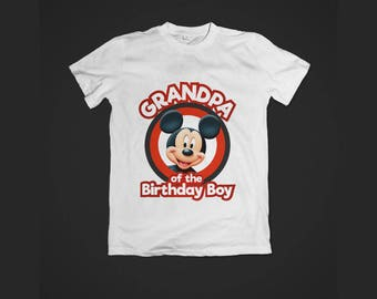 Instant Download - Grandpa of the Birthday Boy Mickey Mouse Tshirt Tee Shirt Birthday Iron on Transfer Image Printable DIY - Digital File