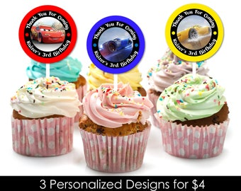 Personalized Cars 3 Lightning Mcqueen Birthday Party Cupcake Topper Toppers Favor Tags Labels Favors Sticker Printable DIY - Digital File