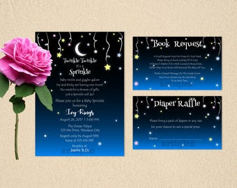 Personalized Baby Shower Sprinkle Party Invitation Book Request Diaper Raffle Hanging Stars Midnight Blue Moon Printable DIY - Digital File