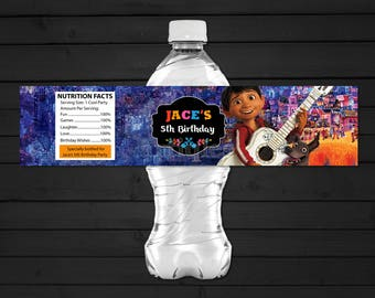 Personalized Coco Water Bottle Label Wrapper Miguel Rivera Guitar Birthday Party Printable DIY - Digital File