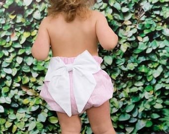 High Waist Bloomer - Light Pink With Bow - Diaper cover - Baby Bloomer Pattern
