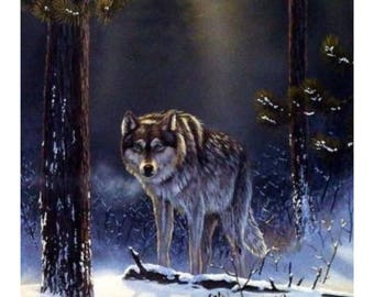 Shadow Hunter - Lone Wolf in the winter - professionally framed and matted print.