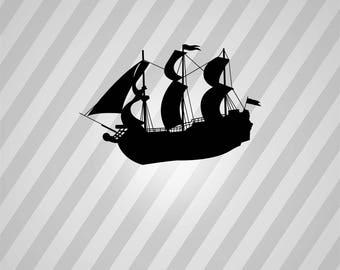 pirate ship Silhouette - Svg Dxf Eps Silhouette Rld RDWorks Pdf Png AI Files Digital Cut Vector File Svg File Cricut Laser Cut
