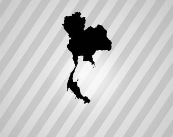 thailand map Silhouette - Svg Dxf Eps Silhouette Rld RDWorks Pdf Png AI Files Digital Cut Vector File Svg File Cricut Laser Cut