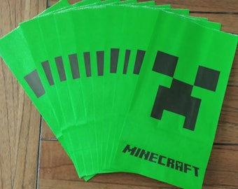 """10pc. Minecraft Creeper 9.5x5"""" Paper Treat Bags ~ Birthday Party Favors Supplies Candy Loot Bags"""