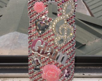Custom hand-made Galaxy s5 Pink girly GLAM snap-on phone case