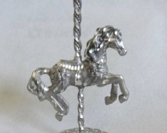 Small Pewter / Silver Carousel Horse - Purple Stone Top - Carved / Cast Metal