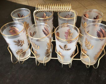 Vintage Libbey golden foliage Glasses with Holder/Glass Caddy/Gold Leaves/Carrier Rack